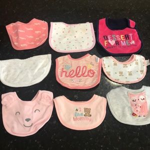 Other - 9 baby bibs various sizes for babies 0-3 months